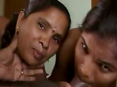 Two busty Indian bitches suck a prick in FFM video