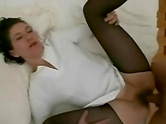 Lewd brunette milf gets her hairy snatch and butt fucked deep