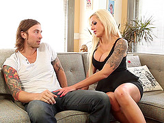 Horny hot stud Chad Alva fucks sexy blonde Nina Elle hardcore in the couch