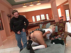 Kissy Kapri in a college uniform, gets fucked in reverse cowgirl pose