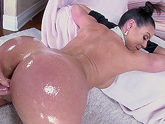 Oiled up MILF with a nice, big ass gets fucked doggystyle