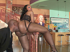 An ebony babe gets a rim job on her big ass then she gets nailed