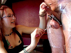 Cute redhead with glasses and petite tits torturing an old man