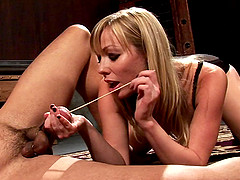 Posh blonde mistress in kinky facesitting and cock torturing session