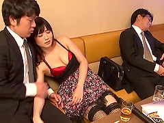 Gorgeous Japanese babe in fishnet stockings getting her pussy jammed doggy style