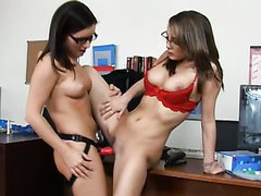 Hot Lesbian Babes In Glasses Having Strap-on Sex In The Office