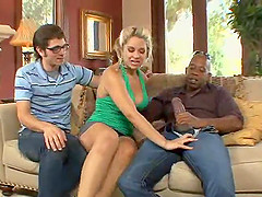 Cuckold is turned on by her fucking that massive black dick