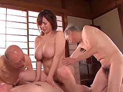Three wrinkled old cocks get their chance at a Japanese chick's pussy