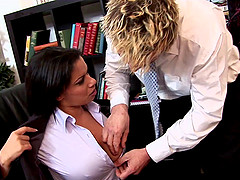 Busty secretary gets to enjoy her bosses' hard prick