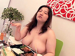 Asian fatty shows down on lunch before getting laid