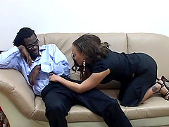 Latina slut with glasses gets rammed by a black dude