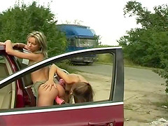 Stubborn lesbians decide to have toy fuck in the car