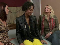 Welcome to watch this amazing interracial lesbians threesome scene on bed