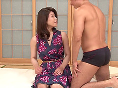 Lustful MILF from Japan getting her hairy muff plowed