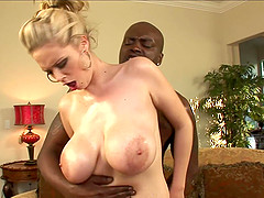 Busty blonde cowgirl and her hung black dude fuck silly on the couch