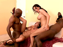 Lingerie clad chicks invite their black neighbors over for a raunchy foursome