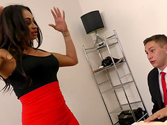 Claudia Valentine passes the time at work by fucking a stud