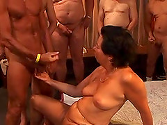 Short haired mature amateur oils herself before being gang banged hardcore