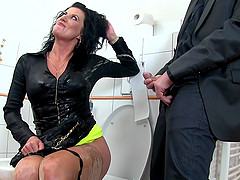 Fabulous brunette sucks hen rides that giant cock while moans heavily