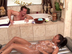 He showers with his masseuse and fucks her slippery cunt