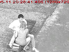 Amateur couple on a date and caught by street camera