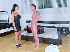 Dark haired wife with big tits invites a bisexual blonde