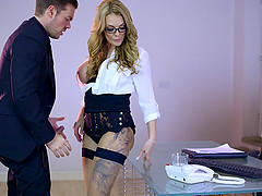 Hardcore office sex with the breathtaking big tits babe
