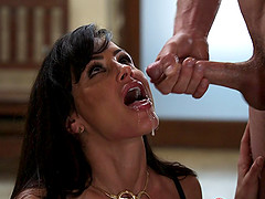 Milf looks amazing sucking dick and fucking to a facial