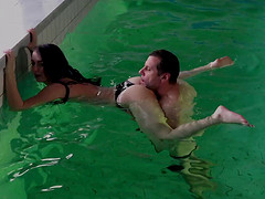 Old guy fools around on the pool with a teen and fucks her hard