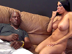 Great fake titties on a hottie fucking his black dick