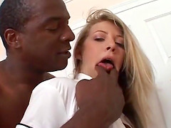 Pretty gal gets the hardcore banging by two cocks of different colors