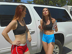 Sports bras and skimpy shorts on these hot lesbian pornstars