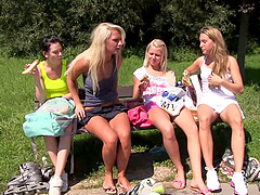Roller blading babes take a break for an orgy in the grass