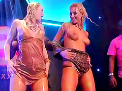 Curvy porn stars with hot ass dancing seductively in the club