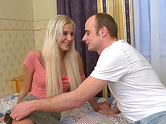 Long hair blonde teen moans when hammered doggystyle