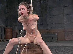 Hottie with the beautiful hair gagged and tortured in the dungeon