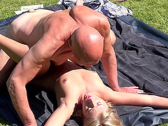 Hot Aria still loves the backyard cock riding more than anything