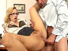 Beautiful Aleska is ready for a dose of the office penetration