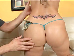 Tattooed cougar in thong teased with money then ravished hardcore