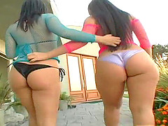 Thick girls with fantastic bodies having a threesome with a lucky guy