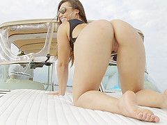 Bootylicious Kelsi Monroe doing some cock riding on the yacht