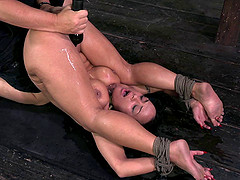 Hot brunette made to cum as her master plays with her pussy