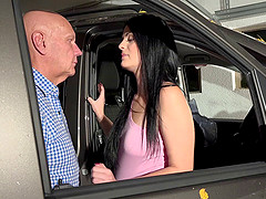 Erected mature cock for the gorgeous Alice Nice inside the car