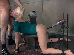Lorelei Lee fucked by a machine while choking on cocks