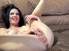 Brunette Veronica moaning while her pussy is fingered immensely