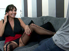 Mature babe Tara Holiday plays with a fortunate guy's prick