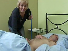 Cute mature blonde cleaning room then smashed doggystyle