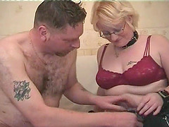Blonde with glasses opens her legs for an erected prick