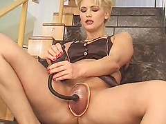 Kinky blonde has a blast during a hot masturbation game