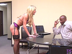 Amy Brooke seduces a horny black lover for an office fuck